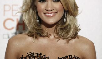 **FILE** In this photo from Jan. 6, 2010, singer Carrie Underwood poses backstage at the People's Choice Awards in Los Angeles. (Associated Press)