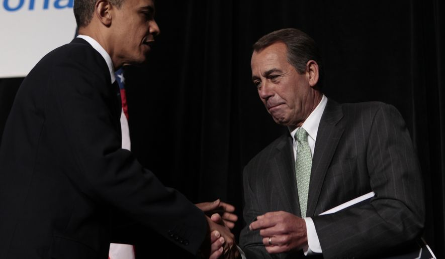 President Barack Obama is greeted by House Minority Leader John Boehner of Ohio, before speaking to Republican lawmakers at the GOP House Issues Conference, in Baltimore, Friday, Jan. 29, 2010. (AP Photo/Charles Dharapak)