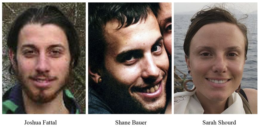 ** FILE ** This combination of undated file photos released by freethehikers.org shows, from left; Joshua Fattal, Shane Bauer, and Sarah Shourd. (Associated Press/freethehikers.org)