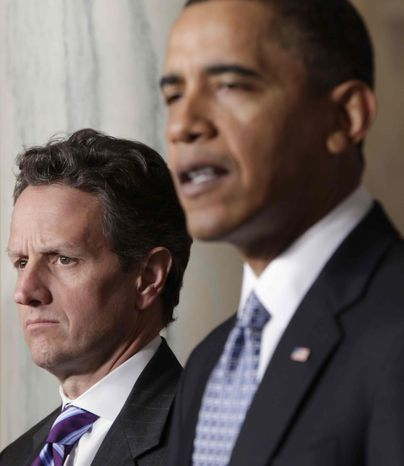 President Barack Obama, accompanied by Treasury Secretary Timothy Geithner, delivers a statement on his budget that he sent to Congress, Monday, Feb. 1, 2010, in the Grand Foyer of the White House in Washington. (AP Photo/Pablo Martinez Monsivais)