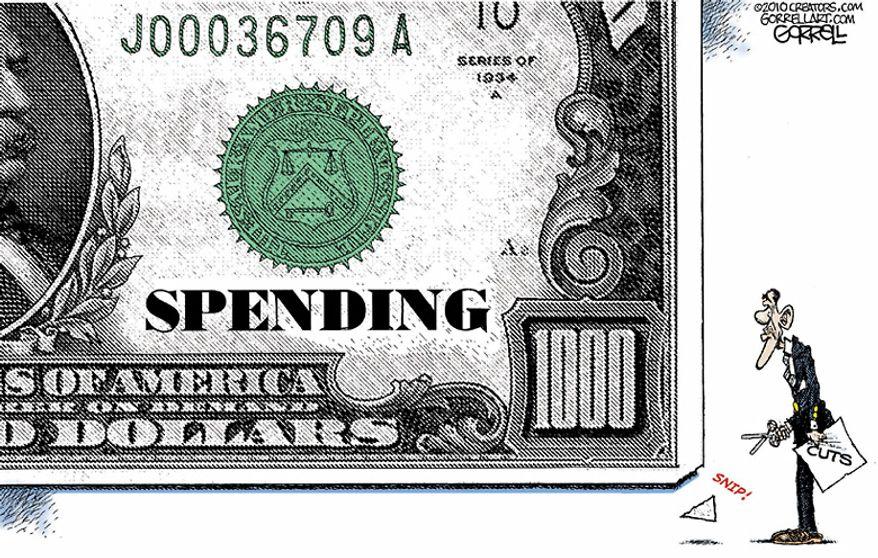 Political Cartoons - Spending Cuts - By Gorrell