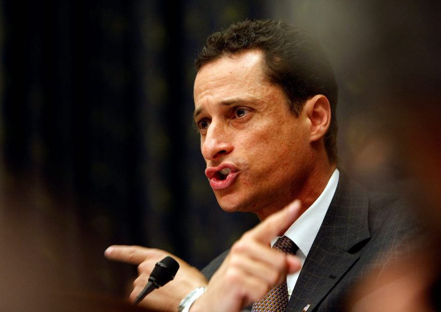 Rep. Anthony Weiner (shown here in this February 2010 file photo), New York Democrat, took sharp aim at Peter King, New York Republican, after the House failed to pass a bill that would have provided billions in aid to people sickened by the 9/11 World Trade Center dust.  (Associated Press)