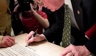 Associated Press Former U.S. Attorney General Edwin I. Meese III signs the Mount Vernon Statement during a ceremony at Collingwood Library and Museum in Alexandria, Va. The document defines the principles, values and beliefs of the conservative movement. Mr. Meese was among the dozens of signatories.