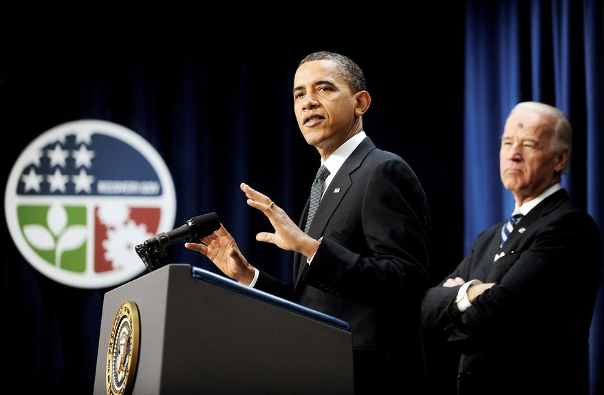 Bloomberg News With Vice President Joseph R. Biden Jr. looking on, President Obama tells an Eisenhower Executive Office Building audience Wednesday that the economic-stimulus legislation he signed a year ago helped avert an economic catastrophe.