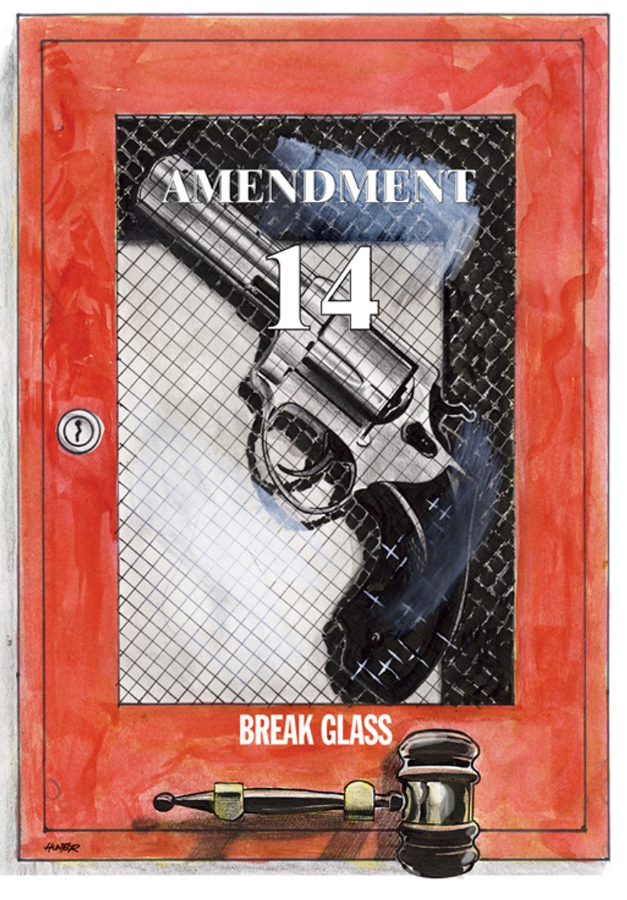 Illustration: Guns and the 14th Amendment by A. HUNTER for The Washington Times.