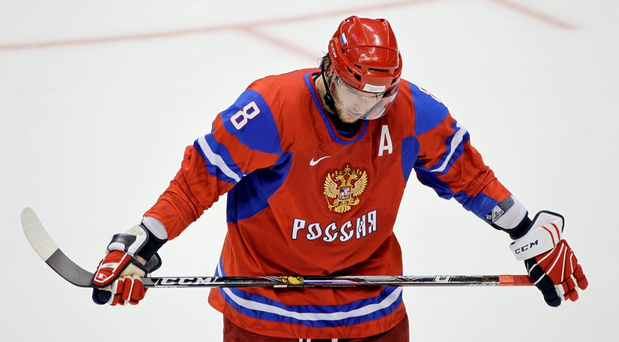Russia's Alexander Ovechkin waits for a face-off in the quarterfinal ice hockey game against Canada at the 2010 Winter Olympics in Vancouver on Wednesday. Russia lost 3-7. (Associated Press)