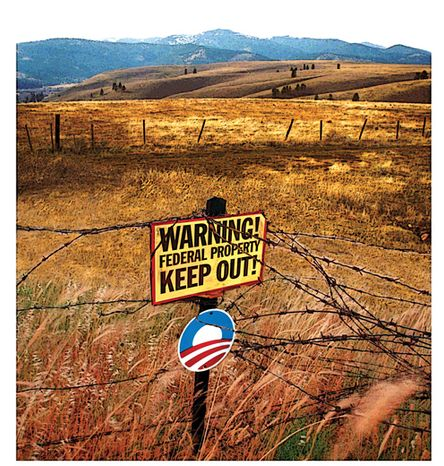 Illustration: Federal land grab by A. HUNTER for The Washington Times.