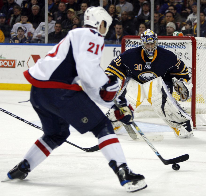 ASSOCIATED PRESS Buffalo Sabres goalie Ryan Miller watches a shot by Washington Capitals' Brooks Laich (21) during the second period of the NHL hockey game in Buffalo, N.Y., Wednesday, March 3, 2010.