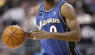 This Jan. 5, 2010, file photo shows Washington Wizards' Gilbert Arenas during an NBA basketball game against the Philadelphia 76ers, in Philadelphia. (AP Photo/Matt Slocum, File)