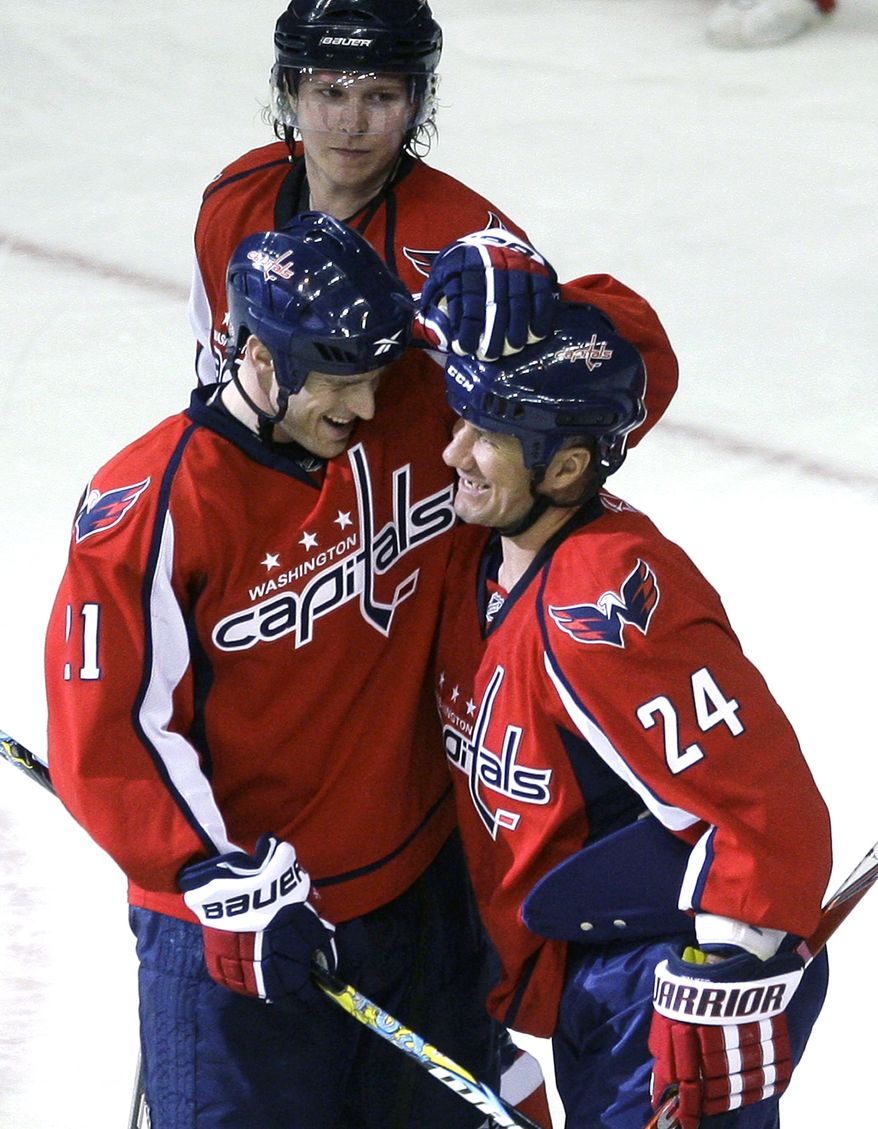 ASSOCIATED PRESS Washington Capitals' Scott Walker (24) celebrates with teammate Brooks Laich, left, as Nicklas Backstrom ,of Sweden, looks on following their 5-4 victory over the Tampa Bay Lightning in an NHL hockey game, Thursday, March 4, 2010, in Washington. The Capitals won 5-4.