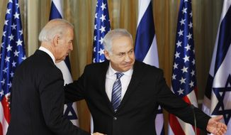 Vice President Joseph R. Biden Jr. (left) and Israeli Prime Minister Benjamin Netanyahu react after delivering a statement at the prime minister's residence in Jerusalem on March 9, 2010. (Associated Press) ** FILE **