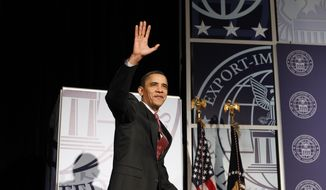 President Obama arrives for a speech at the Export-Import Bank's annual conference in Washington on Thursday, March 11, 2010. (AP Photo/Charles Dharapak)