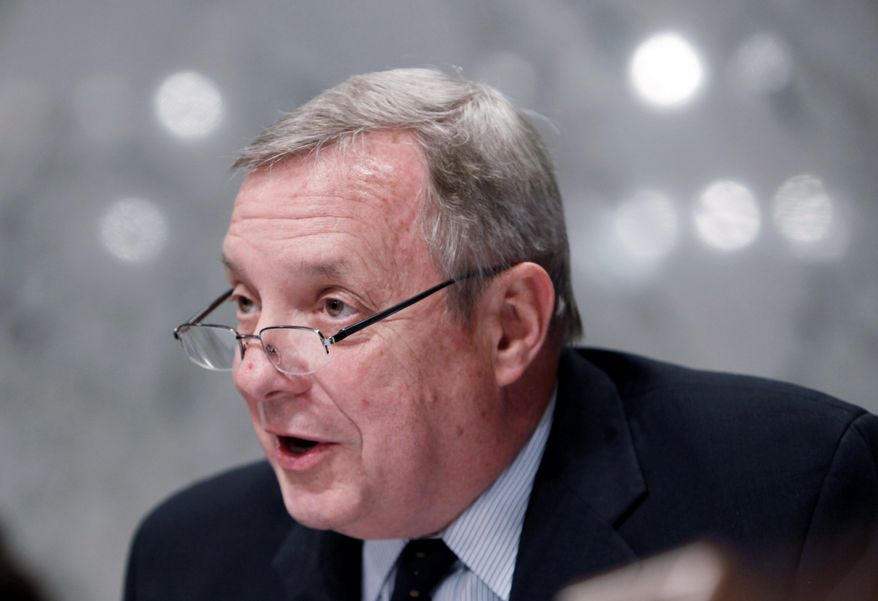 """""""We have to tell people, 'You just have to swallow hard and say that putting an amendment on this is going to stop it or slow it down, and we can't just let it happen,'"""" Senate Majority Whip Richard J. Durbin, Illinois Democrat, said of the health care bill. (Associated Press)"""