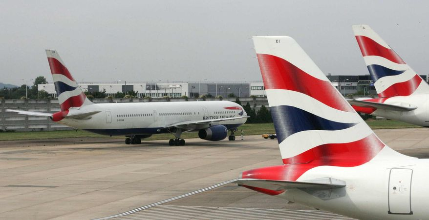 **FILE** A British Airways aircraft prepares to taxi at Heathrow Airport in London on Aug. 13, 2005. (Associated Press)