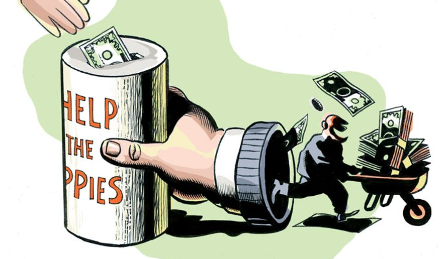 Illustration: Misbehaving charities by Alexander Hunter for The Washington Times.