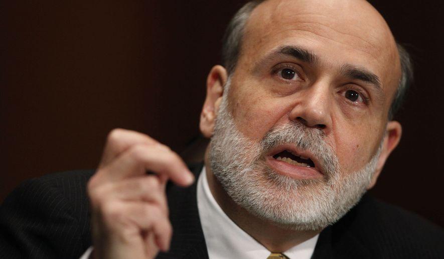** FILE ** In this Feb. 25, 2010, file photo, Federal Reserve Chairman Ben Bernanke testifies on Capitol Hill in Washington. (AP Photo/Manuel Balce Ceneta, File)