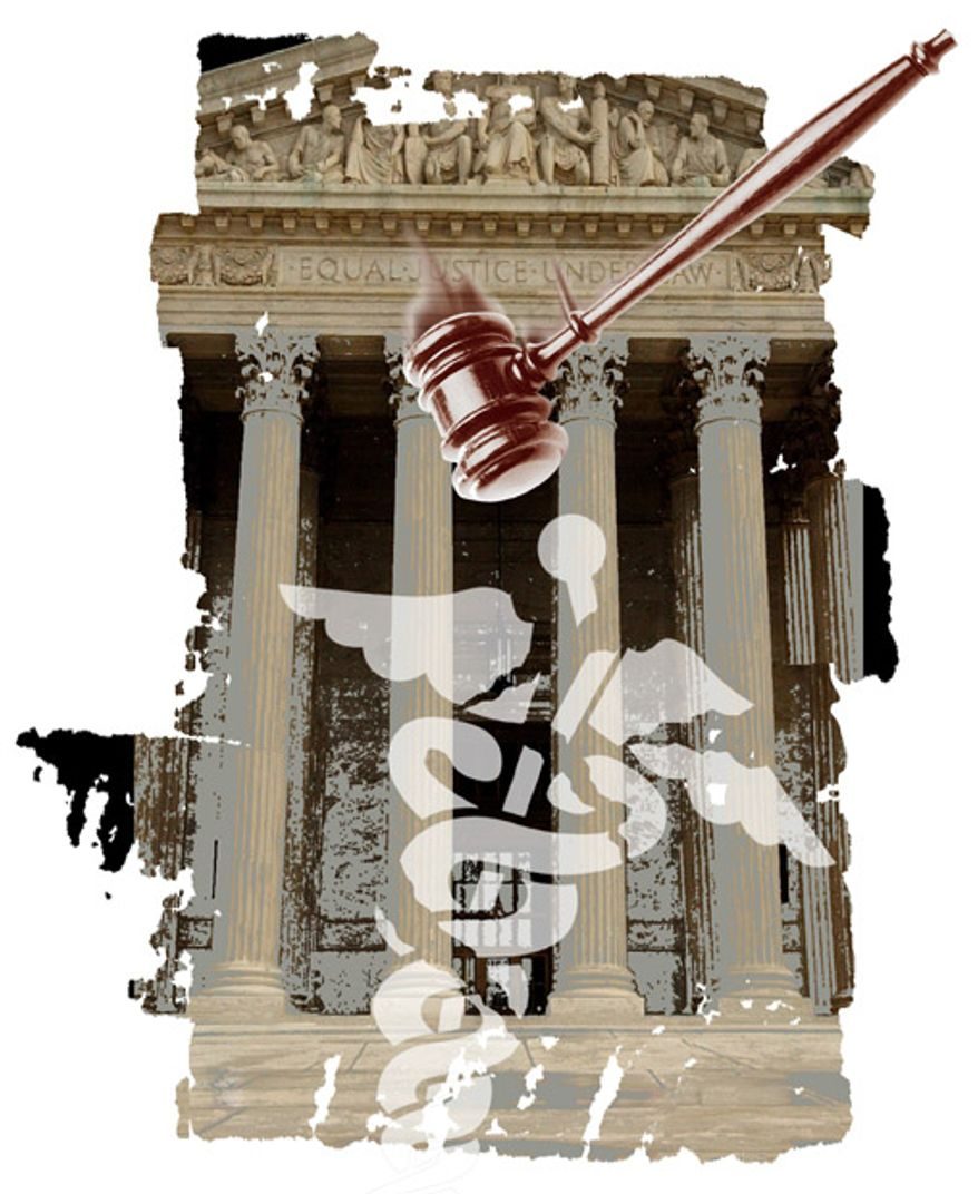 Illustration: Commerce Clause clobbered by Greg Groesch for The Washington Times.
