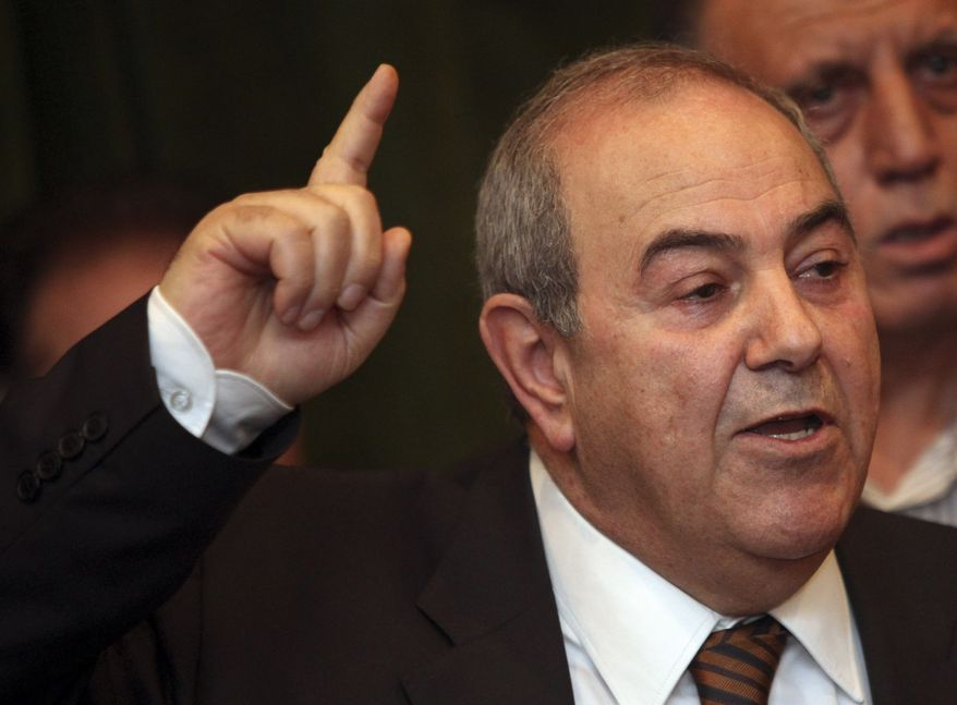 ** FILE ** Former Iraqi Prime Minister Ayad Allawi speaks to the press in Baghdad on Saturday, March 27, 2010. (AP Photo/Karim Kadim)