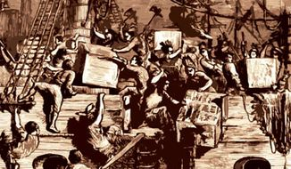 Illustration: Boston Tea Party by Linas Garsys for The Washington Times.