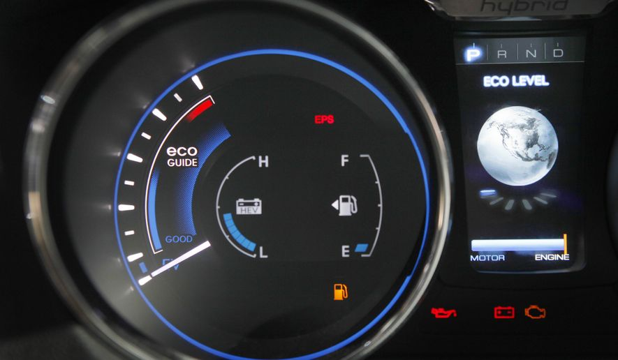 The dashboard on the new Sonata Hybrid displays not only gas levels, but economy and electric motor information at the New York International Auto Show in New York, Thursday, April 1, 2010. The Obama administration set tougher gas mileage standards for new cars and trucks Thursday, April 1, spurring the next generation of fuel-sipping gas-electric hybrids, efficient engines and electric cars. (AP Photo/Seth Wenig)