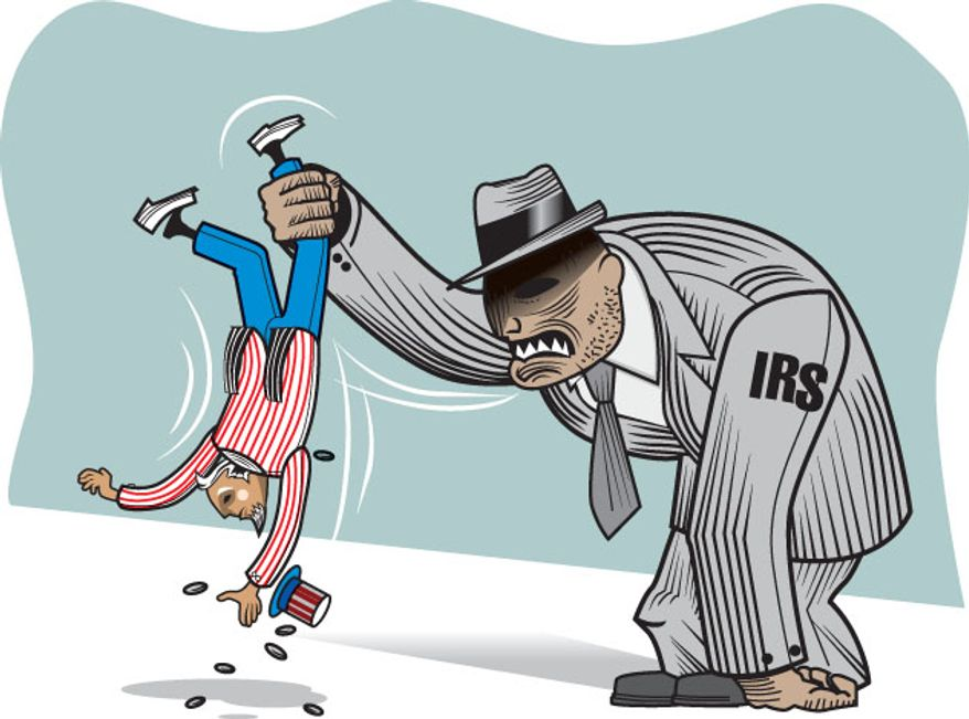 Illustration: IRS shakedown by Greg Groesch for The Washington Times.