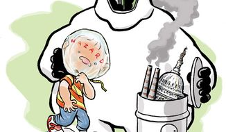 Illustration: EPA endangerment by Alexander Hunter for The Washington Times.