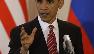 U.S. President Barack Obama speaks after signing the new Strategic Arms Reduction Treaty (START) at the Prague Castle in Prague on April 8, 2010. UPI Photo/Alex Natin.