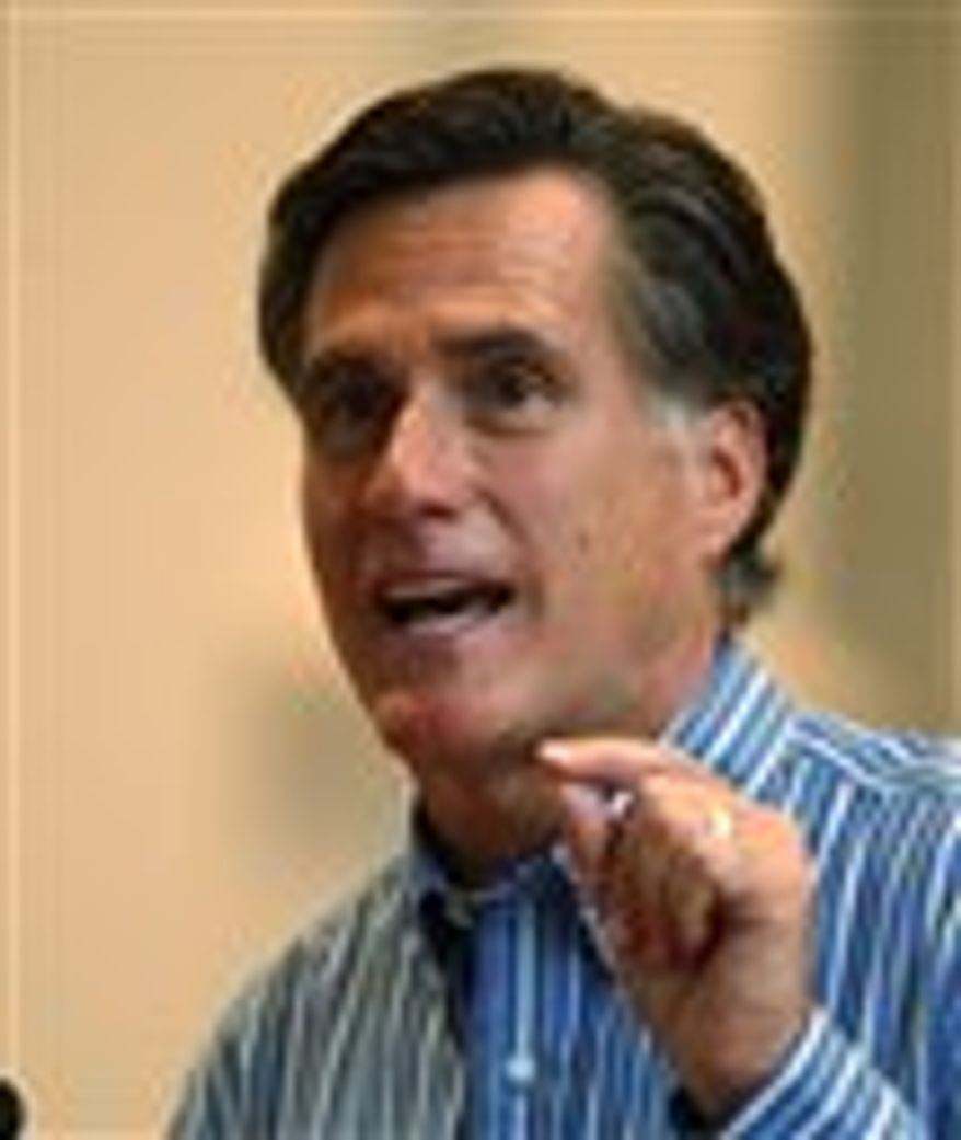 ** FILE ** In this March 30, 2010, photo, former Massachusetts Gov. Mitt Romney speaks during an appearance at Emory University in Atlanta.
