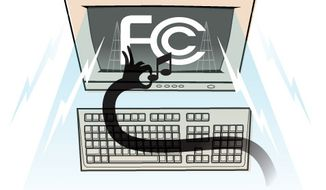 Illustration: FCC and piracy by Linas Garsys for The Washington Times.