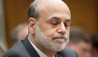 Ben S. Bernanke, chairman of the U.S. Federal Reserve, listens during a House Financial Services Committee hearing on the Lehman Brothers Holdings Inc. bankruptcy in Washington, D.C., U.S., on Tuesday, April 20, 2010. Lehman Brothers Holdings Inc., which filed the biggest bankruptcy in U.S. history, violated its own risk-management rules with the knowledge of the U.S. Securities and Exchange Commission, a bankruptcy examiner said. Photographer: Andrew Harrer/Bloomberg