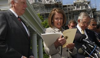 House Speaker Nancy Pelosi of California, flanked by House Majority Leader Steny Hoyer of Maryland, left, and Senate Majority Leader Harry Reid of Nev., speaks to the media in front of the West Wing of the White House in Washington Wednesday, April 14, 2010, following a meeting between President Obama and Congressional leaders. (AP Photo/Alex Brandon)