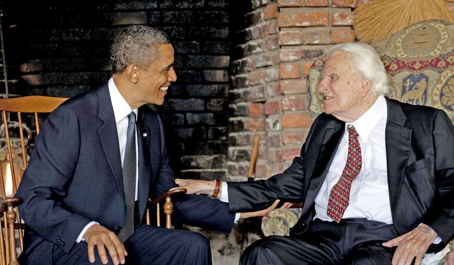 In this undated file photo, President Obama concludes a vacation by meeting Sunday with Billy Graham, at his home in Montreat, N.C. The evangelist counseled commanders in chief since Dwight D. Eisenhower. (White House via Associated Press) **FILE**