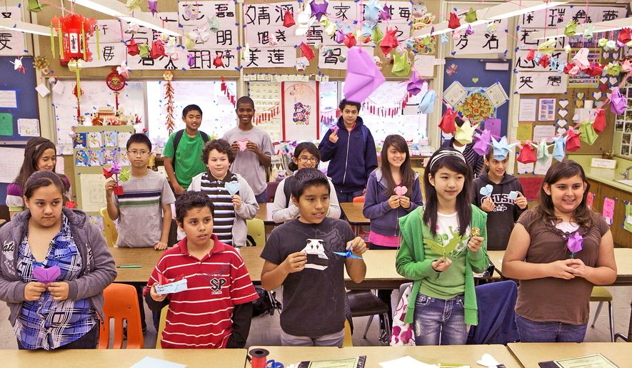 Middle school students in Hacienda Heights, Calif., learn Chinese language and culture as part of the Confucius Classroom grant program. The middle-class town, about 16 miles east of downtown Los Angeles, has a history of racial tensions between longtime residents and relatively recent Chinese newcomers. (Associated Press)