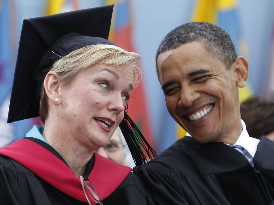 **FILE** In this photo from May 1, 2010, President Obama talks with Michigan Gov. Jennifer Granholm during the University of Michigan commencement ceremony in Ann Arbor, Mich. (Associated Press)