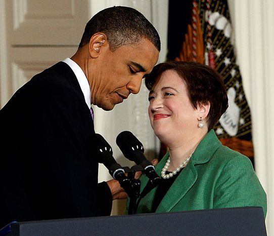 President Obama introduces Solicitor General Elena Kagan as his choice for Supreme Court justice in the East Room of the White House in Washington on Monday, May 10, 2010. (AP Photo/Pablo Martinez Monsivais)