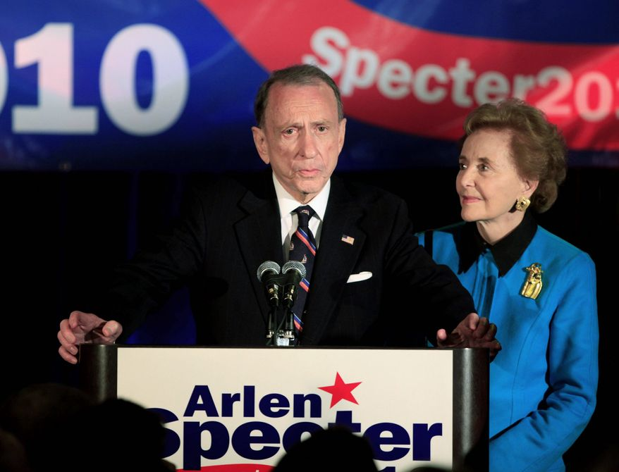 LOSING OUT: Sen. Arlen Specter, with wife Joan, thanks supporters after being defeated in the Pennsylvania Democratic primary.