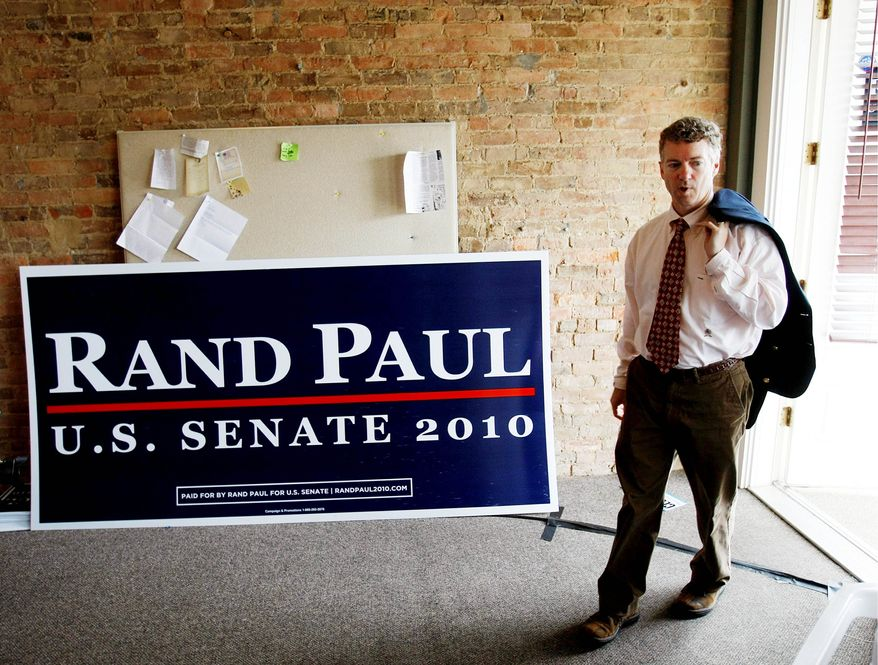 ** FILE ** Senate candidate Rand Paul, Kentucky Republican, arrives at his campaign headquarters in Bowling Green, Ky., on Wednesday, May 19, 2010, the day after winning his party's nomination. (AP Photo)