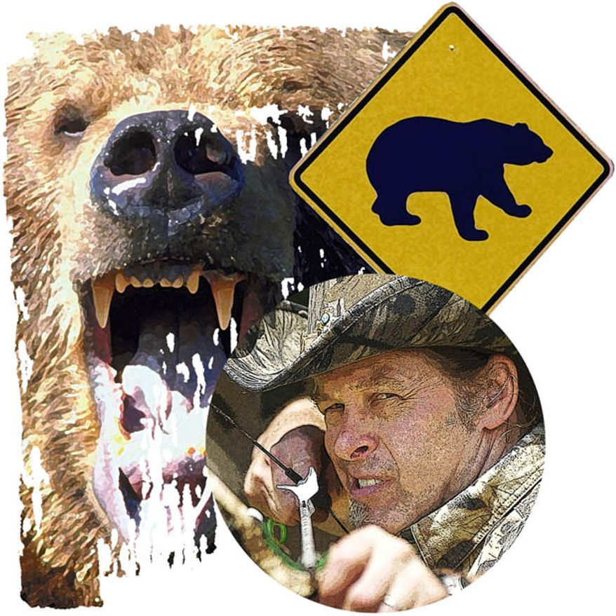 Illustration: Ted Nugent and Bears by Greg Groesch for The Washington Times