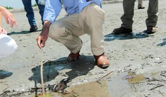 Associated Press Louisiana Gov. Bobby Jindal points to some oil as he talks to reporters while touring the site where workers are building barriers to keep oil from entering wetlands near Grand Isle, La.