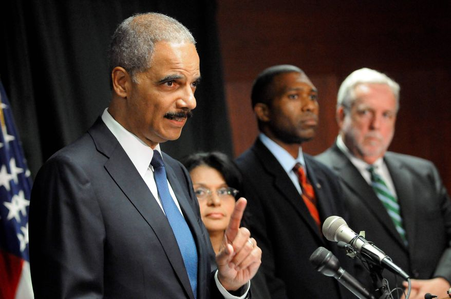From left, U.S. Attorney General Eric Holder, Assistant Attorney General for the Environment and Natural Resources Division Ignacia Moreno, Assistant Attorney General, Civil Division Tony West and U.S. Attorney for the Southern District of Mississippi Don Burkhalter announce that the Justice Department has launched a criminal investigation into the BP oil spill in the Gulf of Mexico, in New Orleans, Tuesday, June 1, 2010. (AP Photo/Cheryl Gerber)