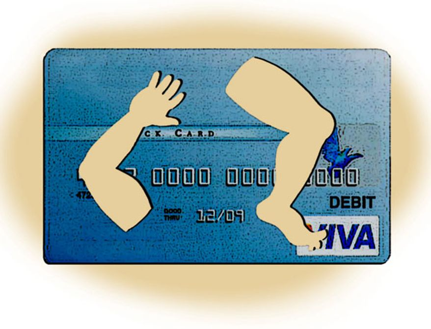 Illustration: Debit card by Alexander Hunter for The Washington Times