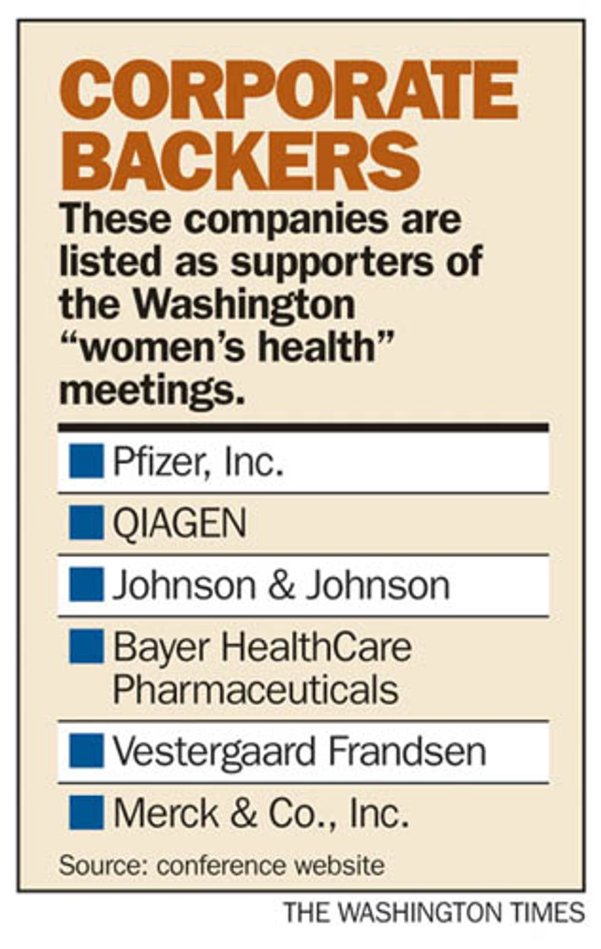 "Chart: Corporate backers of ""women's health"" meetings."