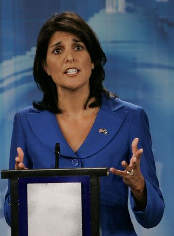 South Carolina state Rep. Nikki Haley makes remarks during a televised debate in Columbia, S.C. She took the early lead as the state's GOP voters went to the polls on Tuesday. She was an obscure state lawmaker just months ago, but now she is the odds-on favorite to be South Carolina's first female governor. (Associated Press)