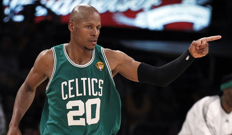 ASSOCIATED PRESS Boston Celtics  guard Ray Allen reacts after scoring against the Los Angeles Lakers during the first half of Game 2 of the NBA basketball finals Sunday, June 6, 2010, in Los Angeles.