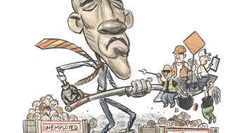 Illustration: Obama's employment by Alexander Hunter for The Washington Times