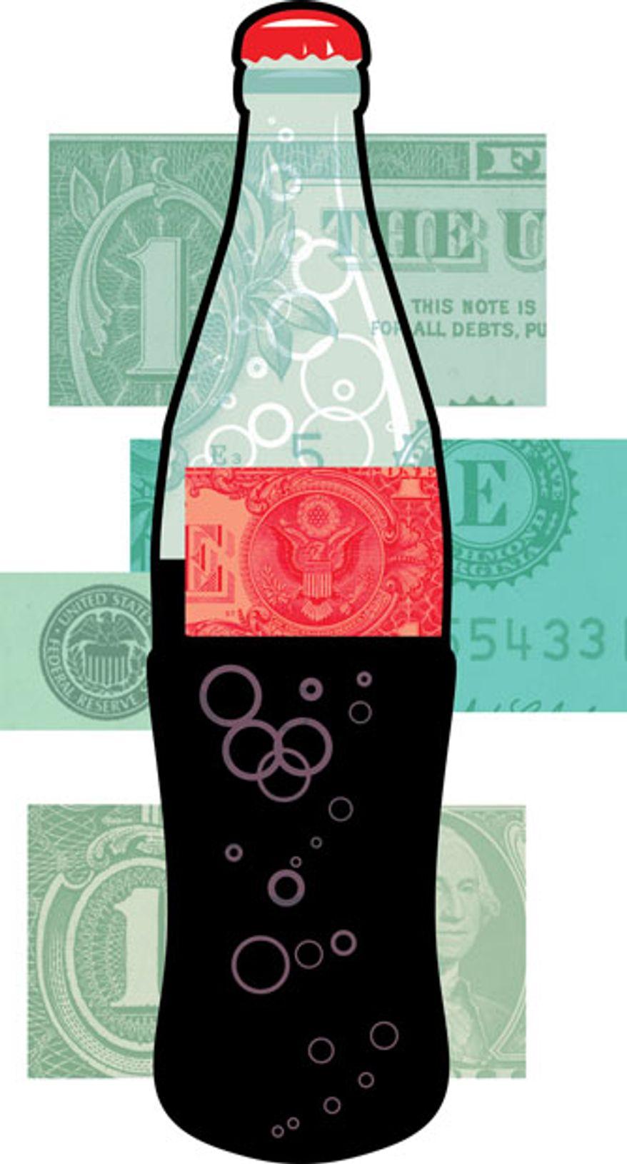Illustration: Soda tax by Linas Garsys for The Washington Times