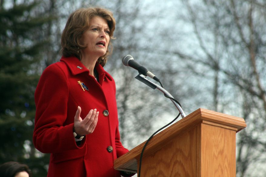 In this Wednesday, March 31, 2010 picture, Sen. Lisa Murkowski, Alaska Republican, addresses a crowd in Anchorage, Alaska, during a rally to highlight efforts to fight domestic violence and sexual assault. Ms. Murkowski is the leading sponsor of a resolution that would prevent the Environmental Protection Agency from regulating greenhouse gases under the Clean Air Act. She said the EPA regulation of carbon dioxide would have a negative economic impact on her constituents by threatening projects such as the construction of a natural gas pipeline. (AP Photo/Mark Thiessen)