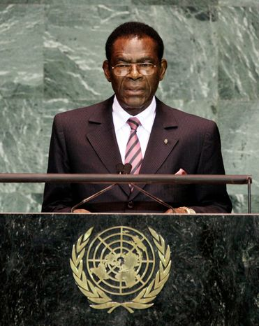 """DICTATOR: Teodoro Obiang has his name on a prize for """"scientific achievements that improve the quality of human life."""" (Associated Press)"""