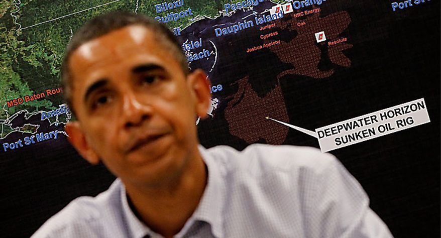 A map showing the oil spill is seen behind President Obama as he speaks about the BP Deepwater Horizon disaster on Monday, June 14, 2010, at the U.S. Coast Guard Station in Gulfport, Miss. (AP Photo/Charles Dharapak)