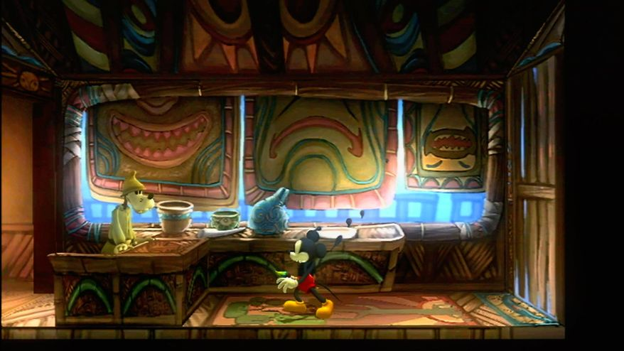 """In this video game image released by Disney Interactive, Mickey Mouse, center, is shown in a scene from """"Ventureland."""" (AP Photo/Disney Interactive)"""